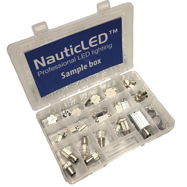 Nauticled sample box med 36 led-pærer og adapter