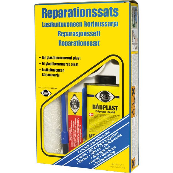 Reparationssæt 250ml polyester - 20 x 90cm glasfib