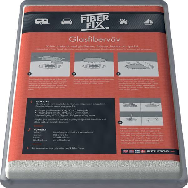 Fiber fix epoxy glasfibermåtte 155 gr 1 x 1 m