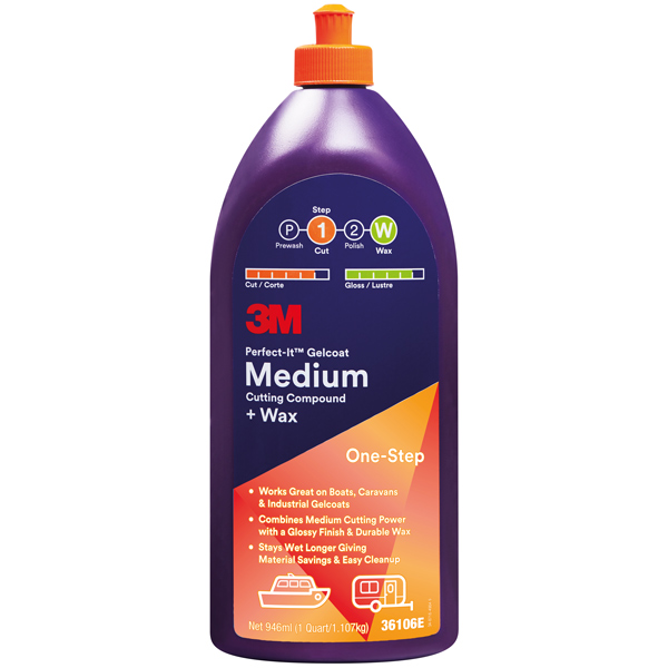3m marine gelcoat medium cutting compound 946ml