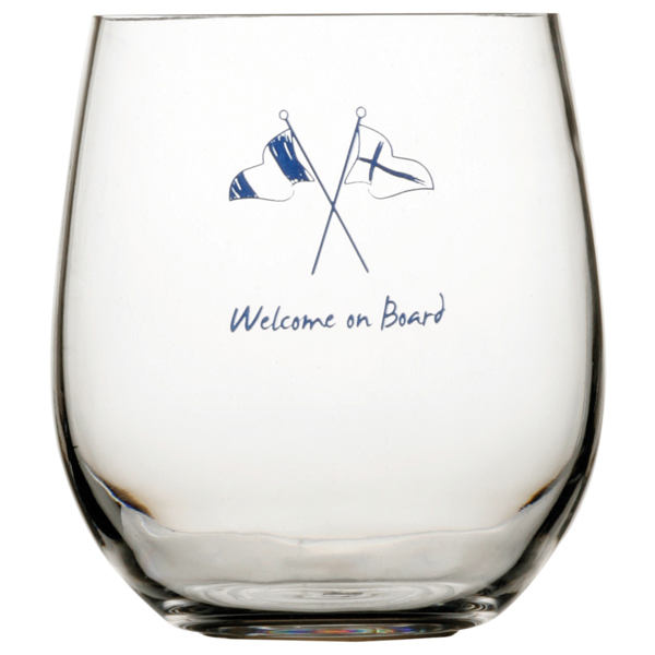 Mb welcome on board vandglas ø9 cm h10 cm 414 ml.